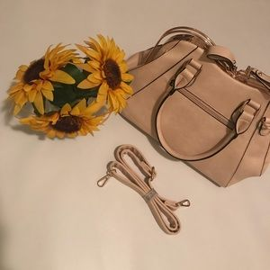 Handbags - Cream/Brown Rose Gold Accented Bag